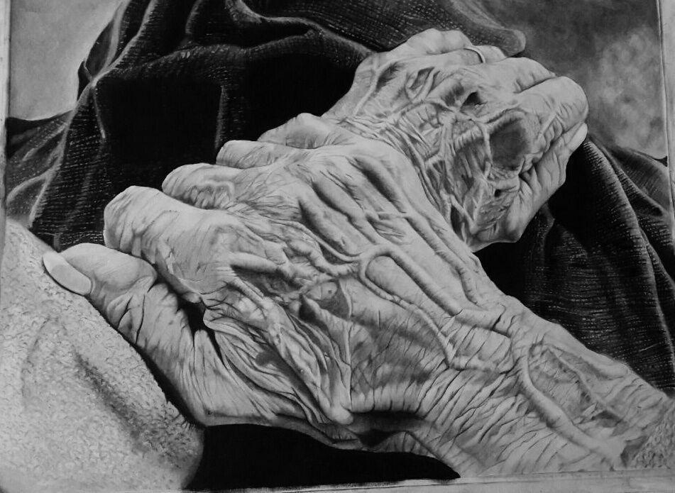 سیاه قلم طراحی دست کنته نقاشی