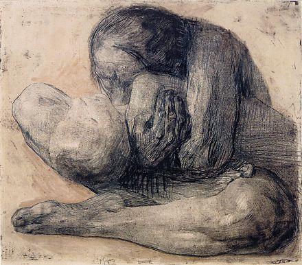 زن با بچه مرده _ کته کلویتس _ اکسپرسیونیسم _ آموزشگاه نقاشی در هفت حوض
