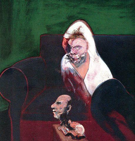 مرد لمیده همراه با مجسمه _ فرانسیس بیکن _آموزشگاه نقاشی در نارمک _ آبستره اکپرسیونیسم _ از آبستره تا مینی مالیسم