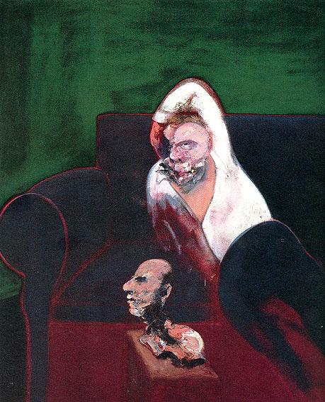 مرد لمیده همراه با مجسمه _ فرانسیس بیکن _آموزشگاه نقاشی در نارمک _ آبستره اکپرسیونیسم